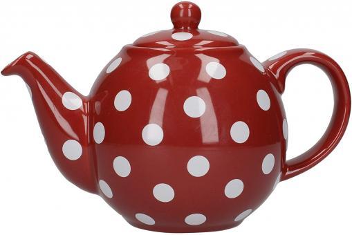 London Pottery Teekanne, rot/weiß gepunktet, 6 Tassen