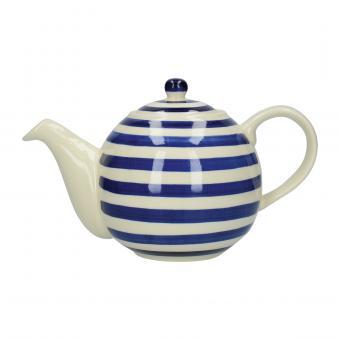 London Pottery Teekanne, weiß/blau gestreift, 4 Tassen